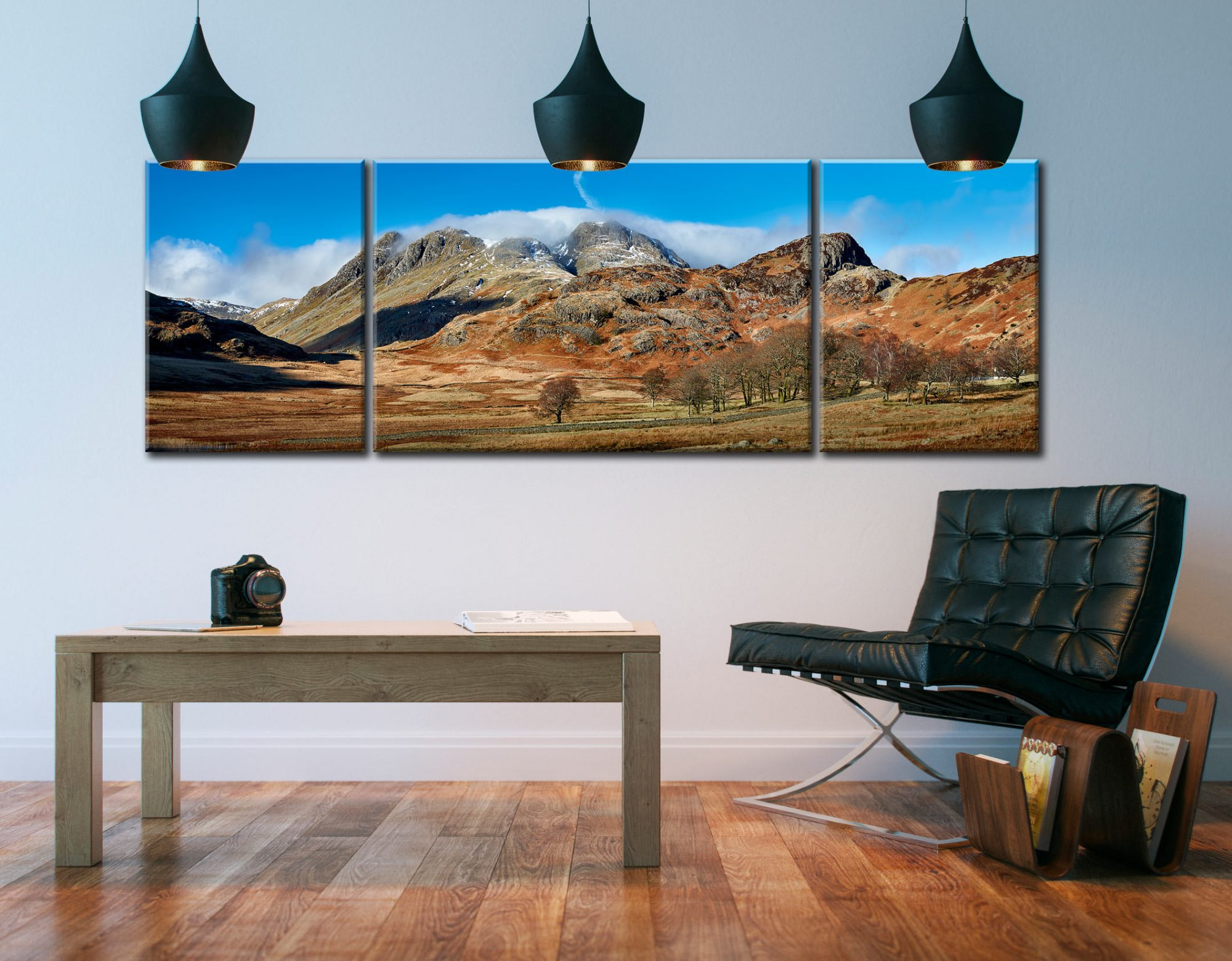 Last Snow On Langdales  - 3 Panel Wide Centre Canvas on Wall