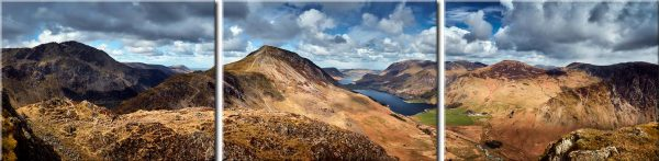 High Crag and Buttermere Panorama - 4 Panel Canvas Print