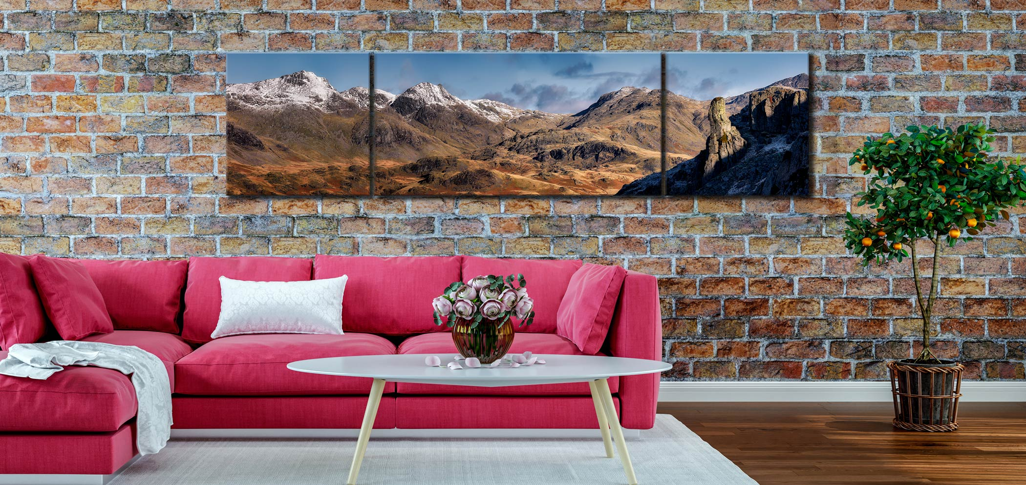 Eskdale Needle and Scafell Panorama - 3 Panel Wide Centre Canvas on Wall