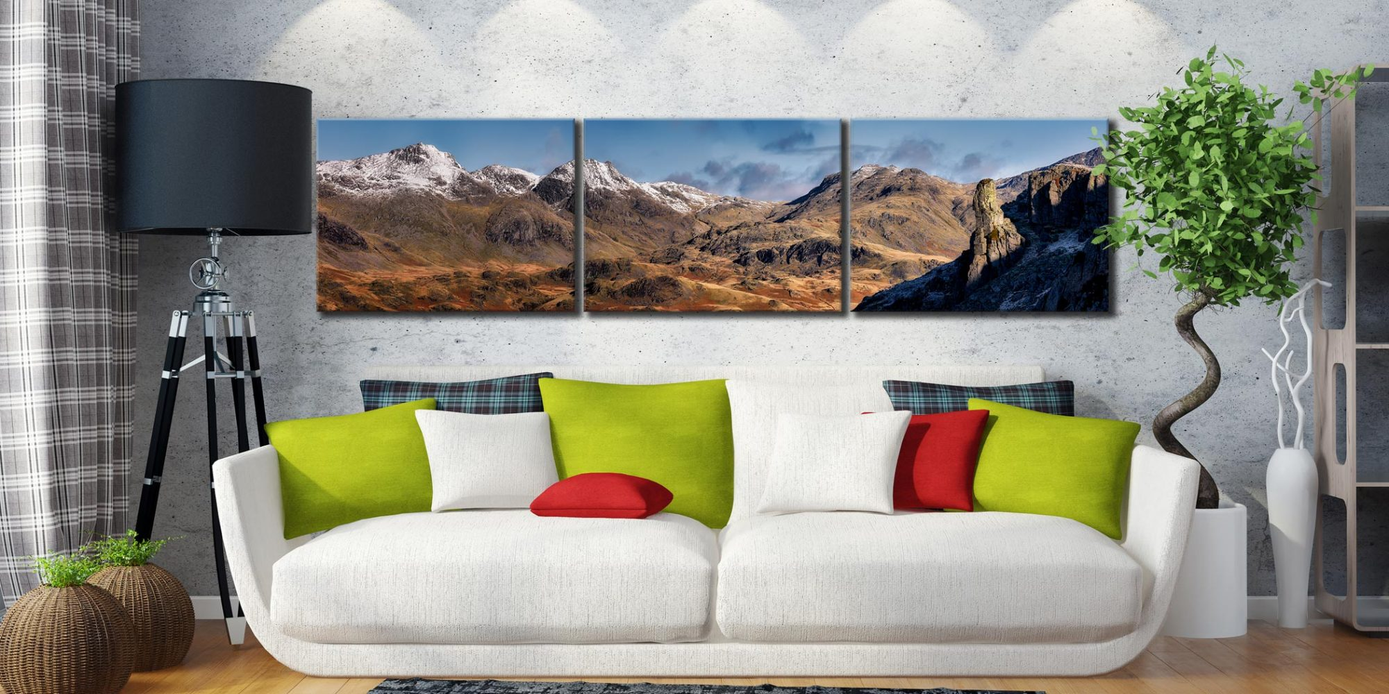 Eskdale Needle and Scafell Panorama - 3 Panel Canvas on Wall