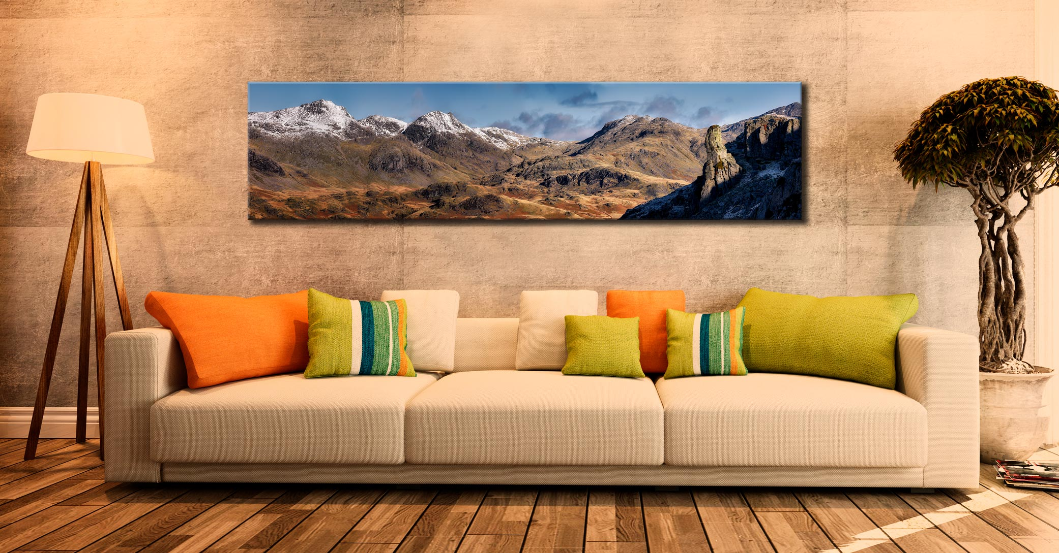 Eskdale Needle and Scafell Panorama - Lake District Canvas on Wall
