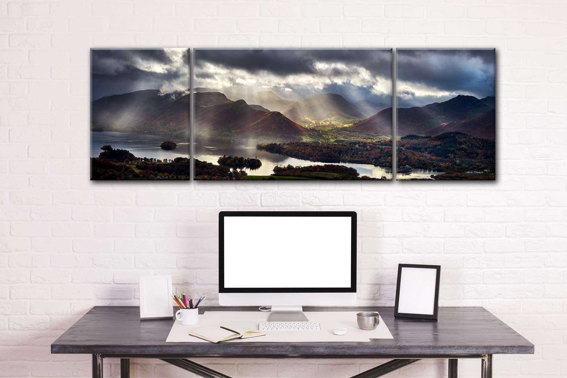 Sunbeams Over the Derwent Fells - 3 Panel Wide Centre Canvas on Wall