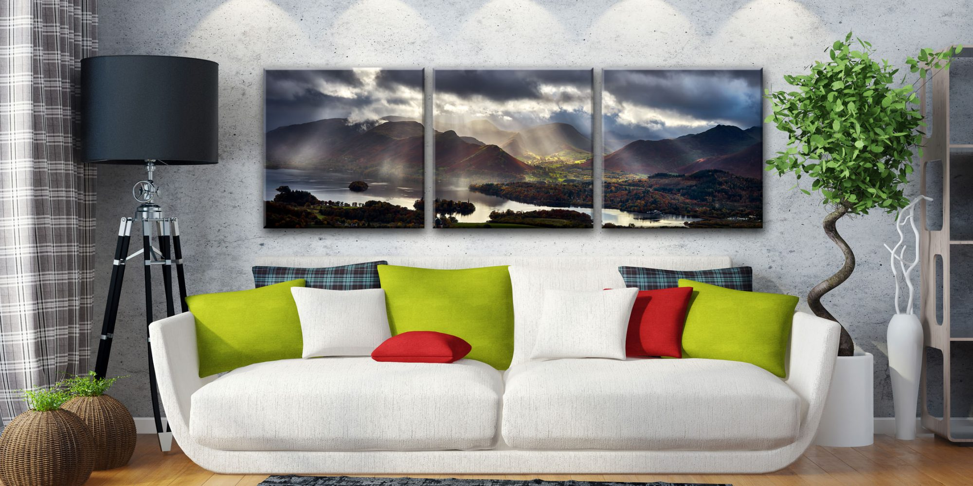 Sunbeams Over the Derwent Fells - 3 Panel Canvas on Wall