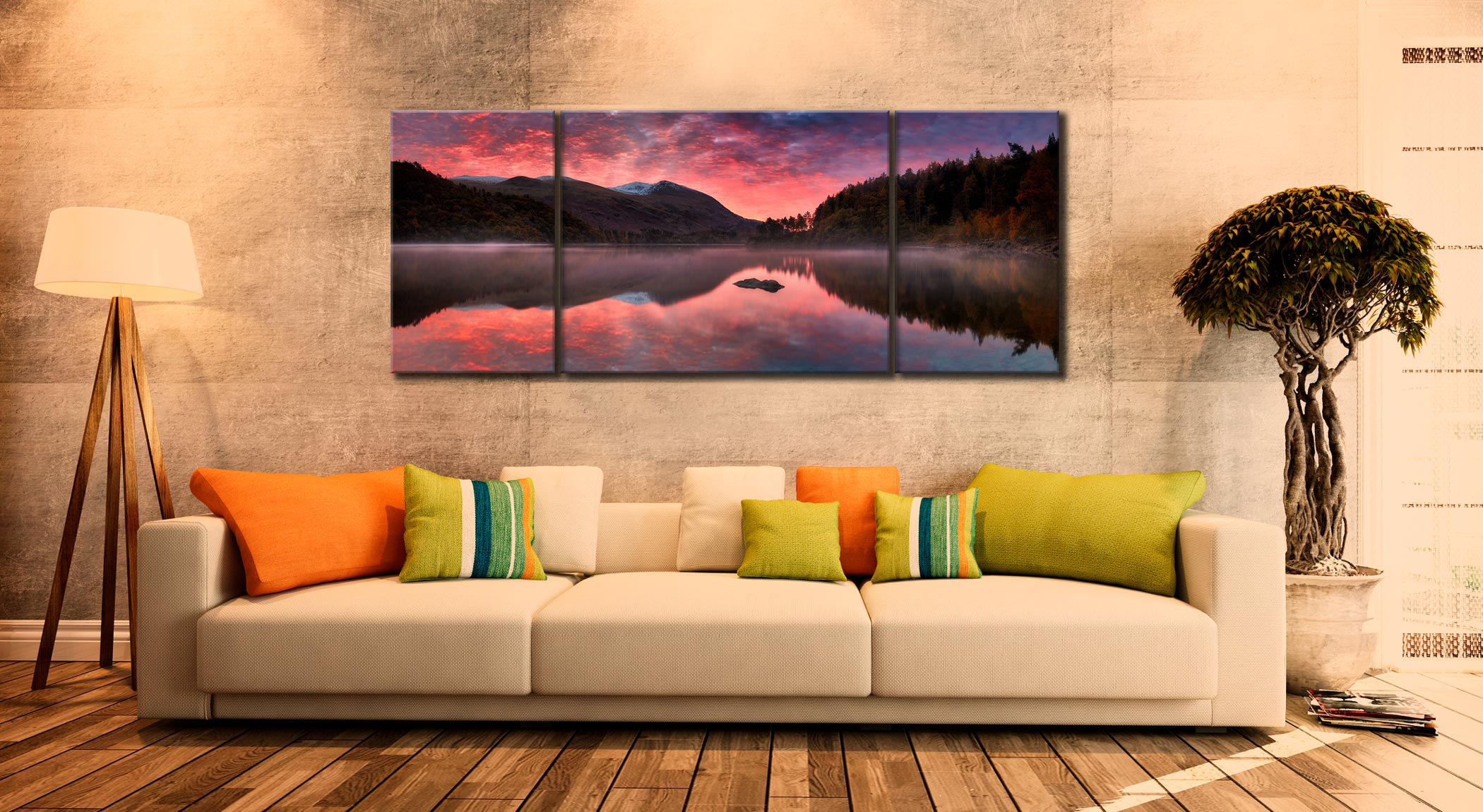 Thirlmere Autumn Sunrise - 3 Panel Wide Centre Canvas on Wall
