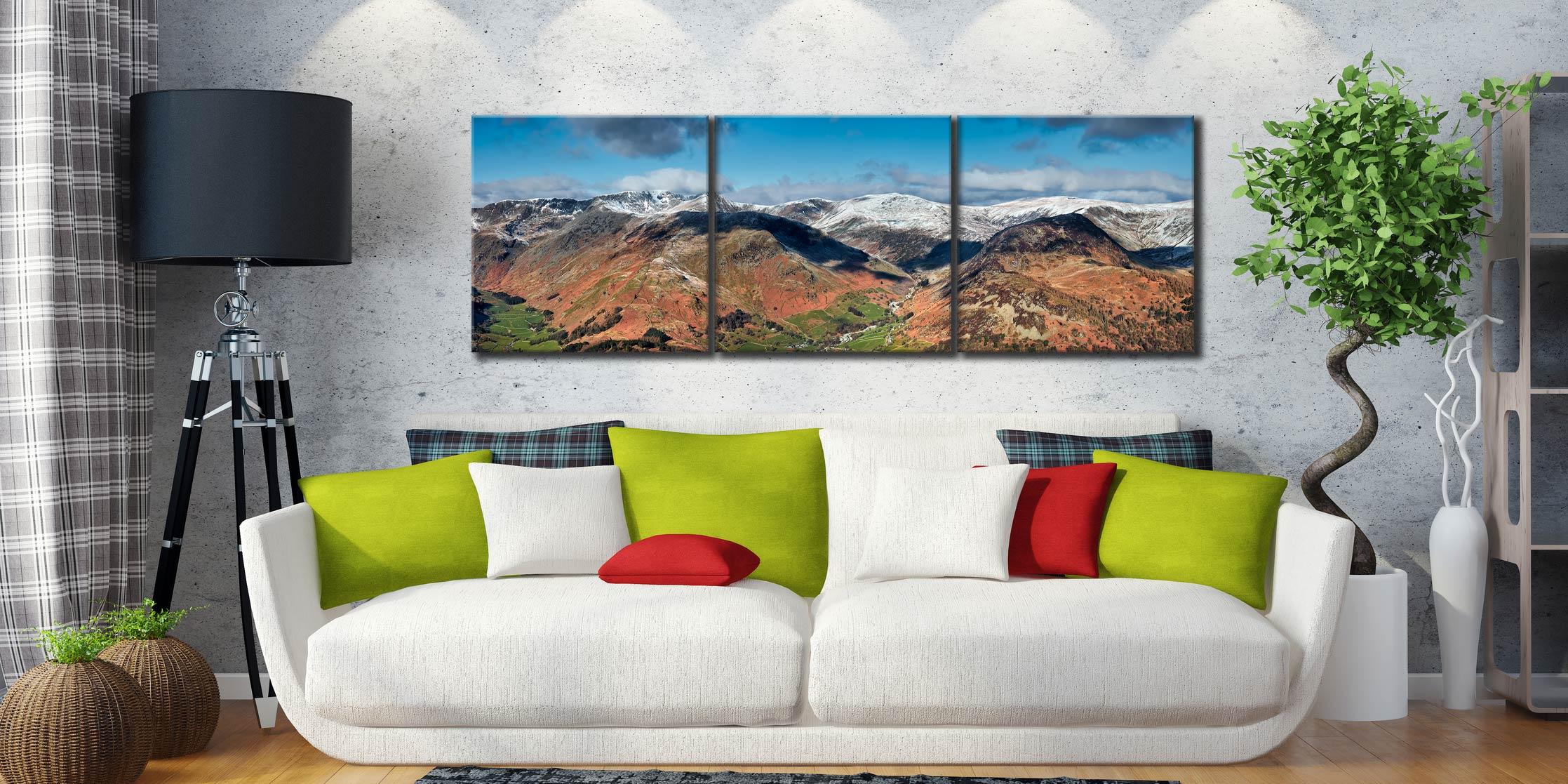 Glenridding Panorama - 3 Panel Canvas Print on Wall