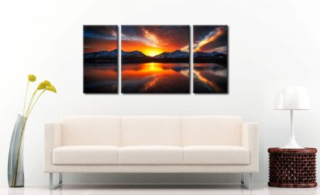 Winter Sunset Over Derwent Water - 3 Panel Wide Centre Canvas on Wall