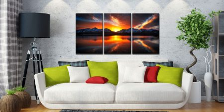 Winter Sunset Over Derwent Water - 3 Panel Canvas on Wall