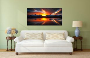 Winter Sunset Over Derwent Water - Canvas Print on Wall