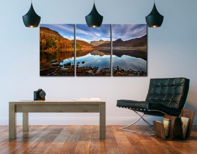 Blea Tarn Golden Light - 3 Panel Canvas on Wall
