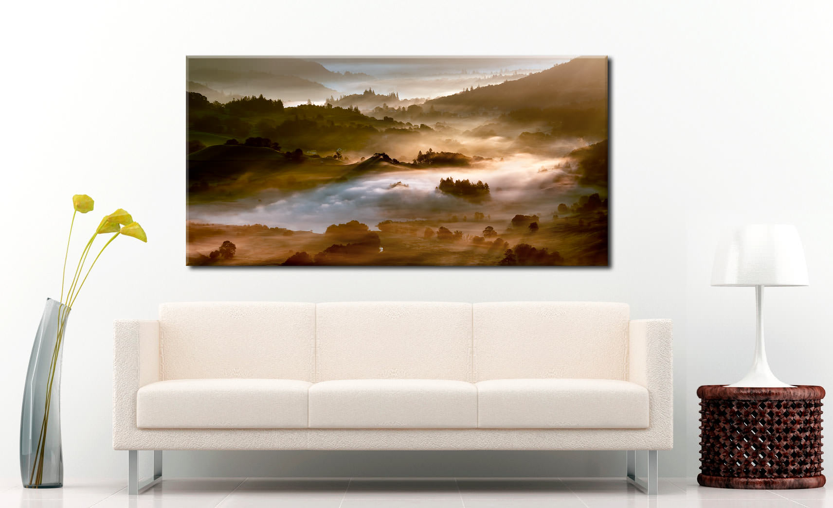 Morning Mists Over Little Langdale - Canvas Print on Wall