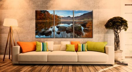 Golden Autumn Blea Tarn - 3 Panel Canvas on Wall