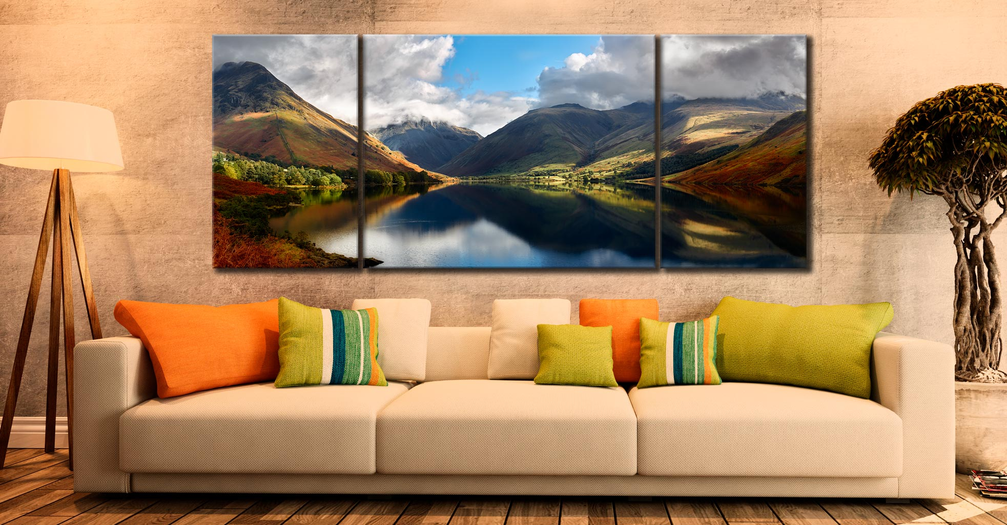 Wasdale Head Panorama - 3 Panel Wide Centre Canvas on Wall