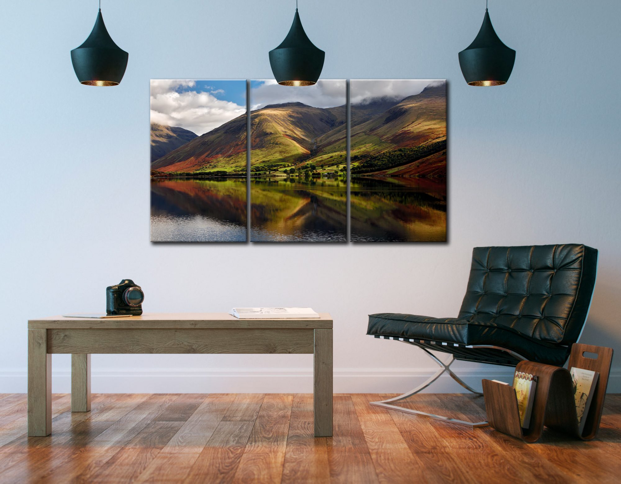 Green Fells of Wasdale - 3 Panel Canvas on Wall