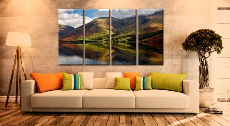 Green Fells of Wasdale - 4 Panel Canvas on Wall
