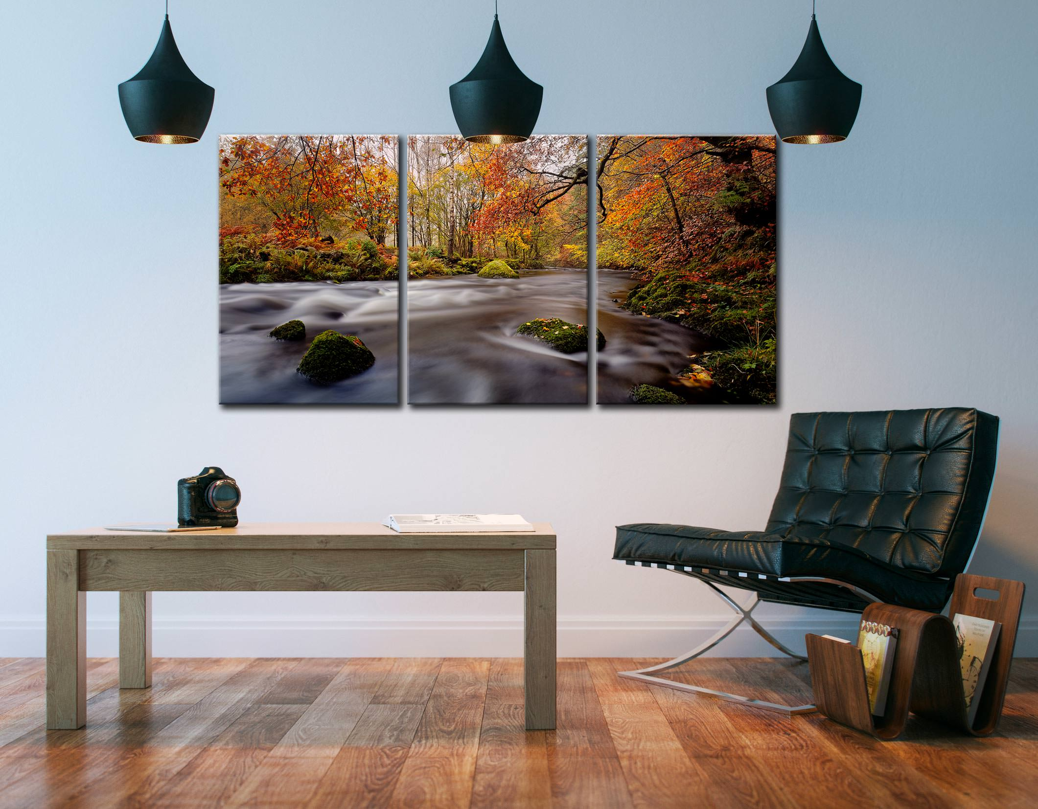 Autumn Colours of River Rothay - 3 Panel Canvas on Wall