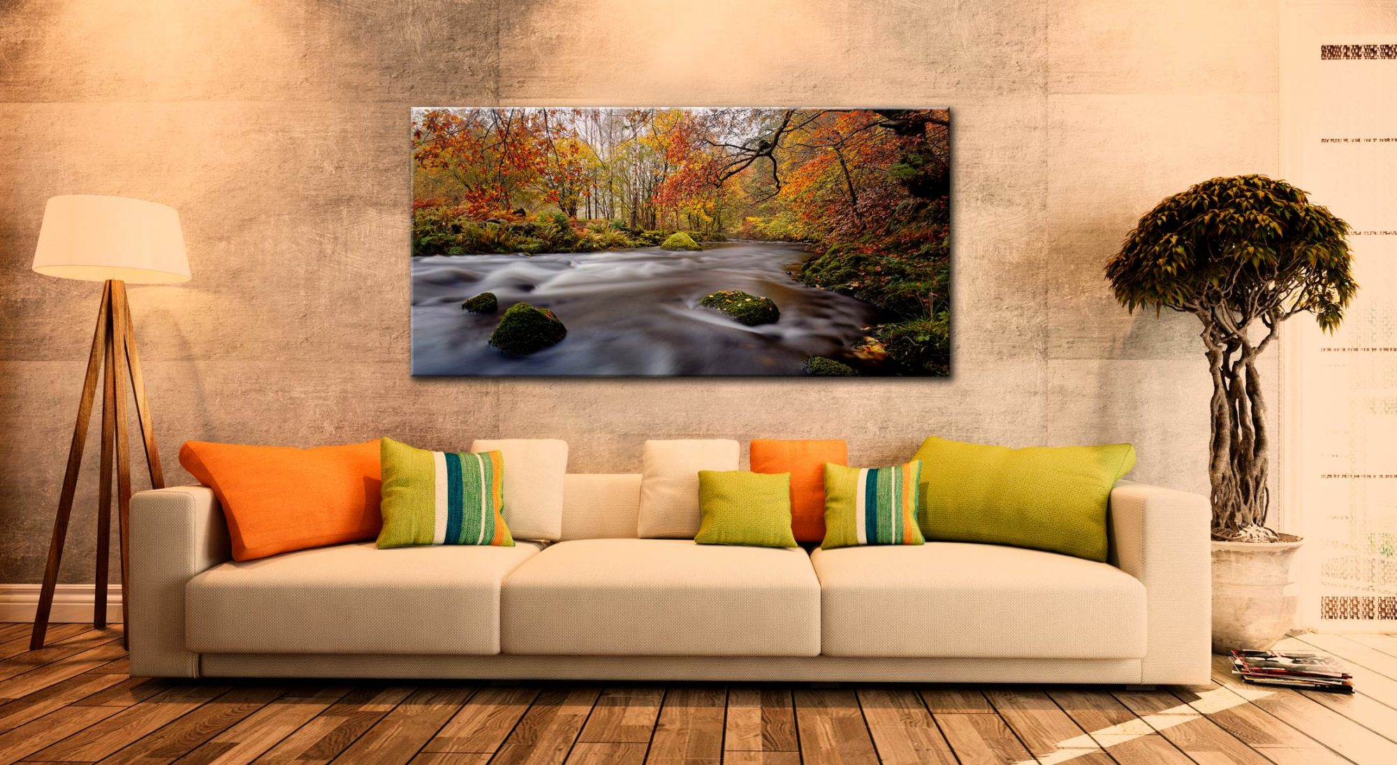 Autumn Colours of River Rothay - Canvas Print on Wall