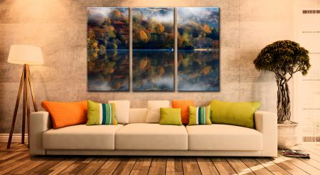 Rydal Water Autumn - 3 Panel Canvas on Wall