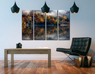 Rydal Water Autumn - 4 Panel Canvas on Wall