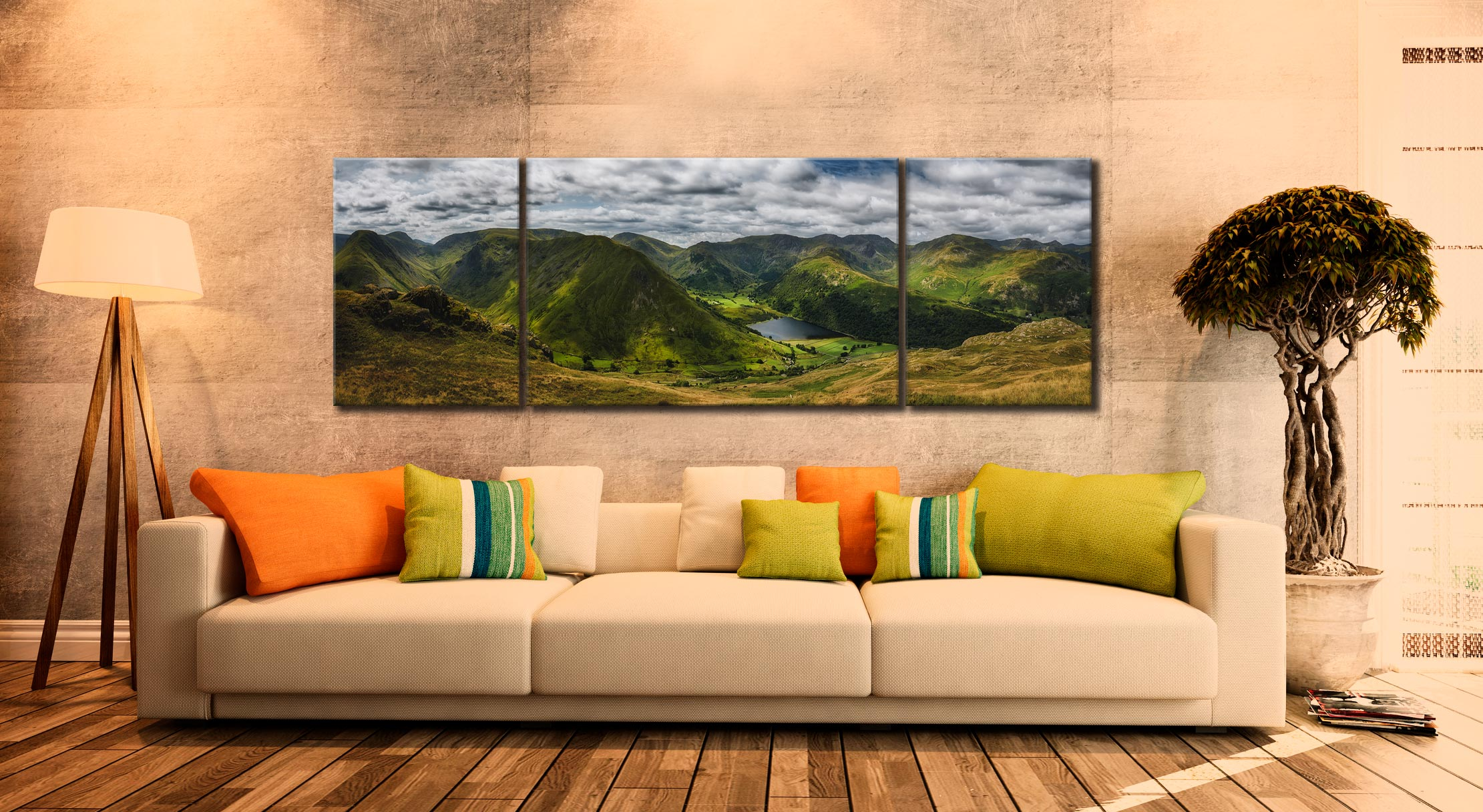 Satura Crag Panorama - 3 Panel Wide Centre Canvas on Wall