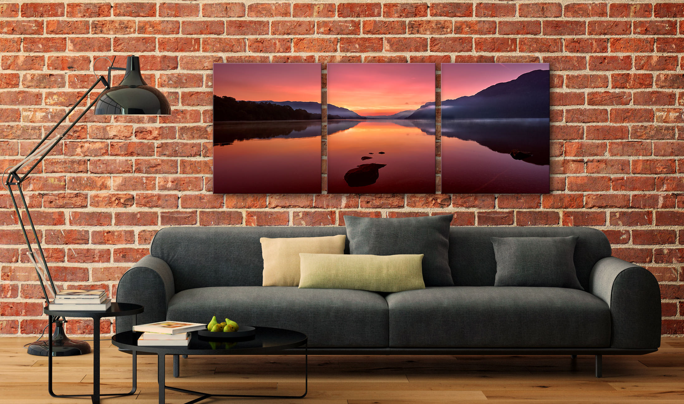 Ullswater Golden Sunrise - 3 Panel Canvas on Wall