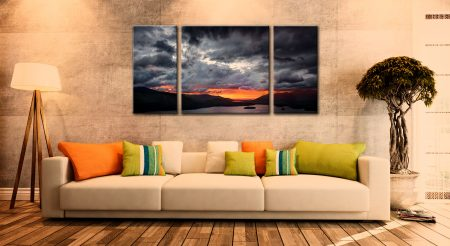 Fiery Sunset Over Derwent Water - 3 Panel Wide Centre Canvas on Wall