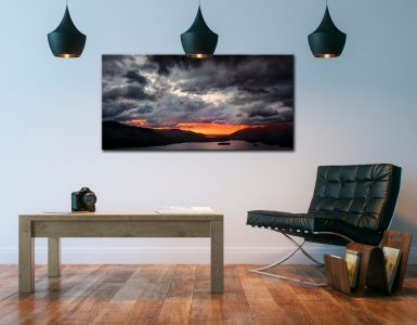 Fiery Sunset Over Derwent Water - Canvas Print on Wall