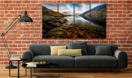 Wast Water Red Rocks - 4 Panel Canvas on Wall