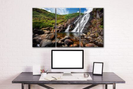 Easedale Falls - 3 Panel Canvas on Wall