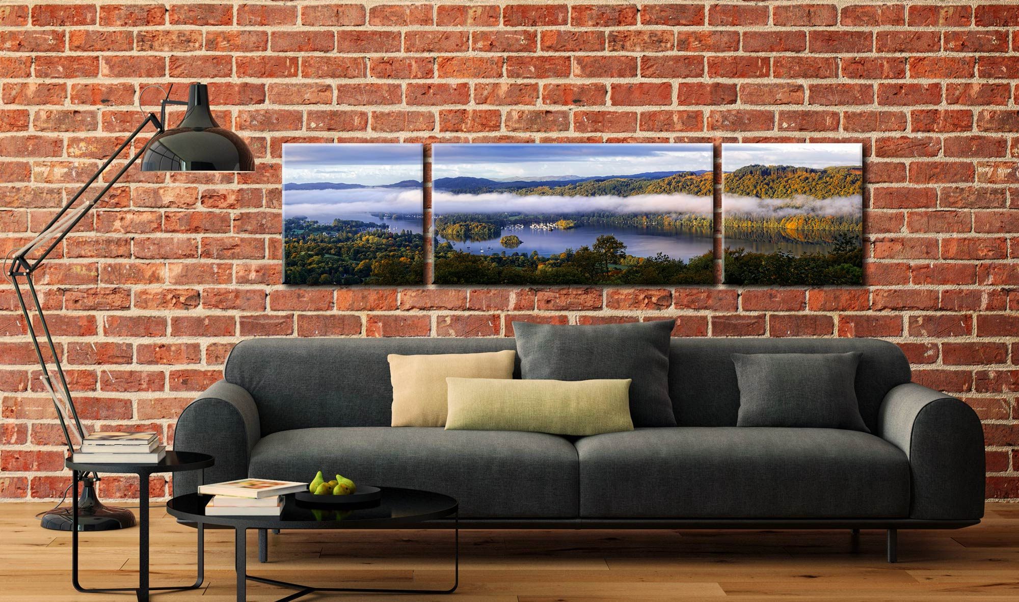 Bowness On Windermere Morning Mists - 3 Panel Wide Centre Canvas on Wall