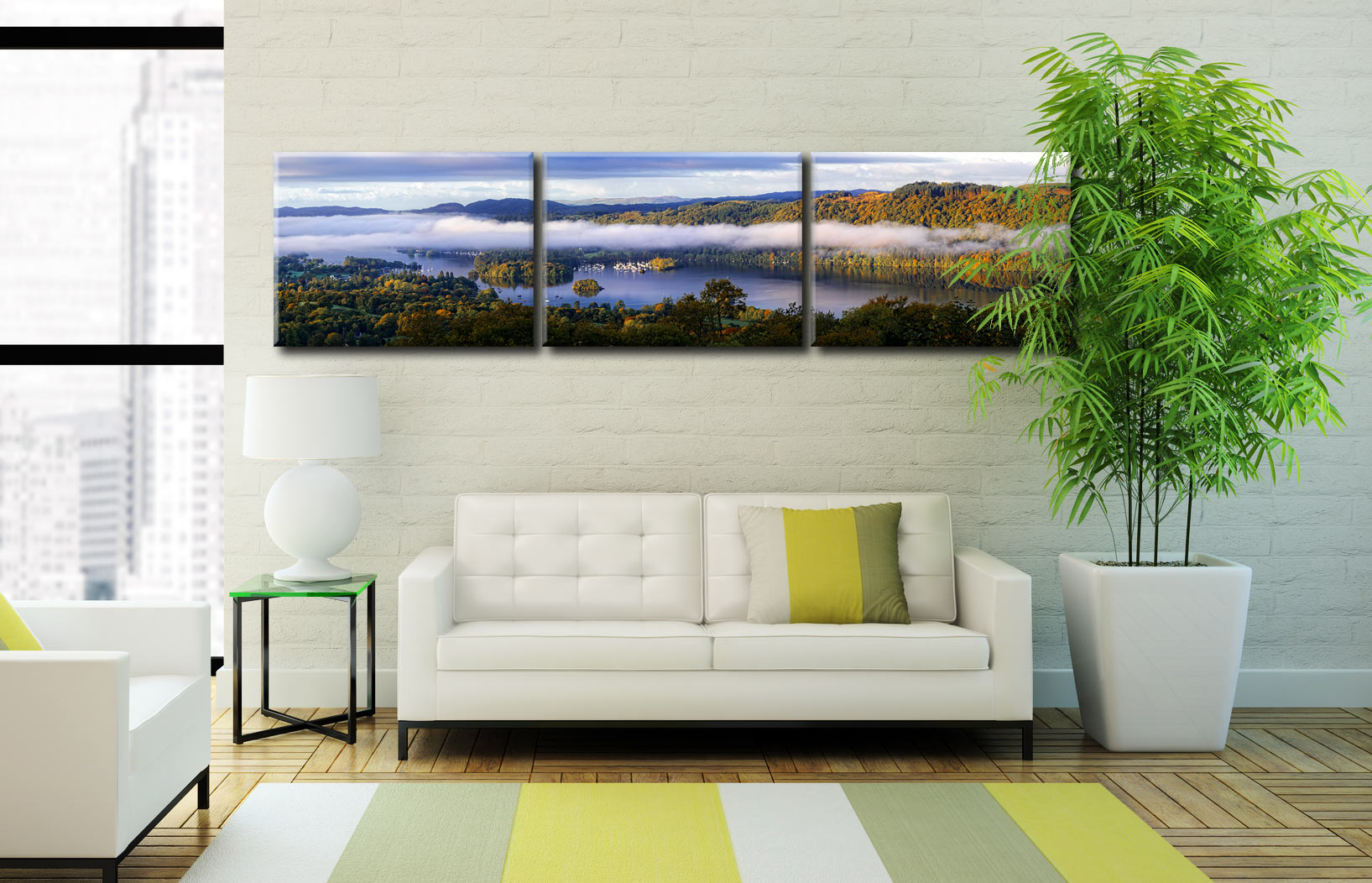 Bowness On Windermere Morning Mists - 3 Panel Canvas on Wall