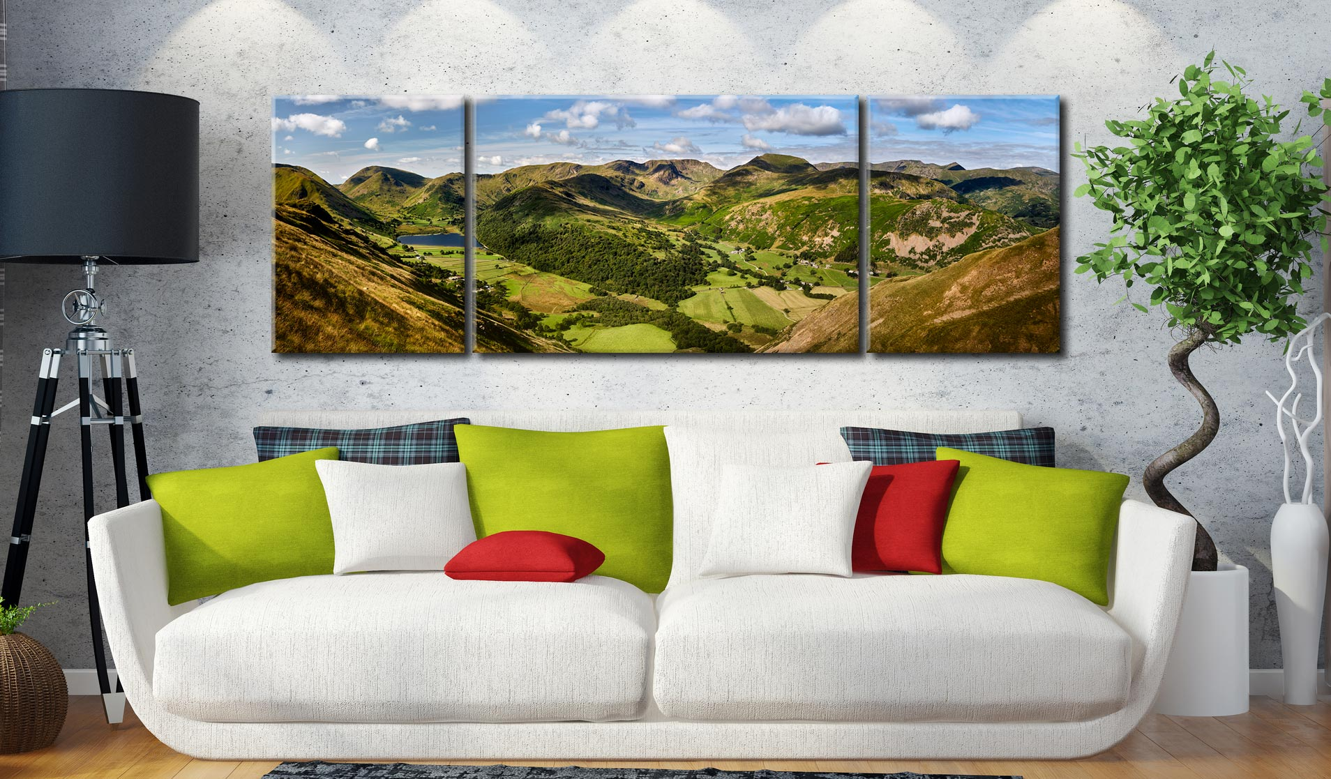 Deepdale and Dovedale Panorama - 3 Panel Wide Centre Canvas on Wall