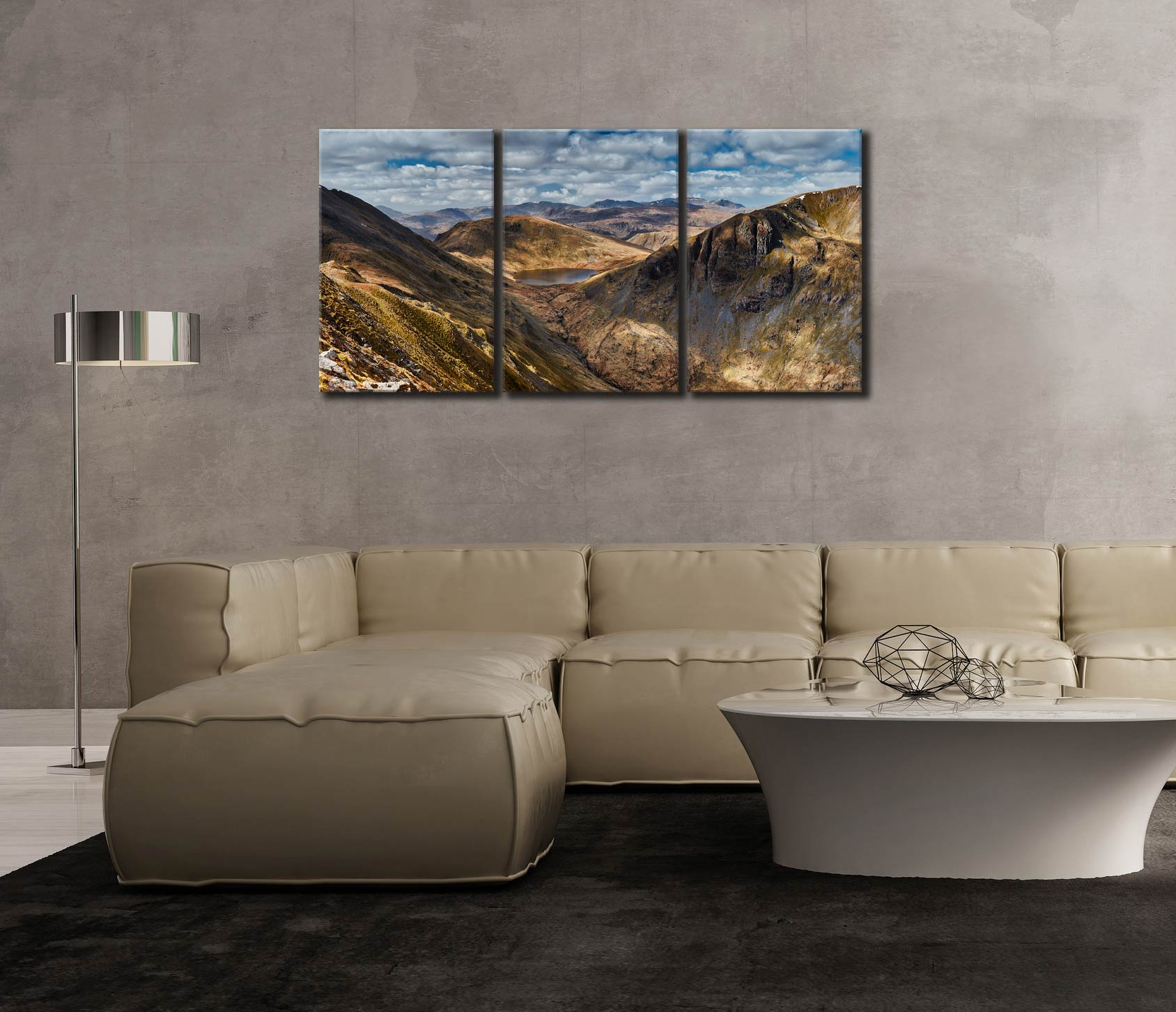 Grisedale Tarn Panorama - 3 Panel Canvas on Wall