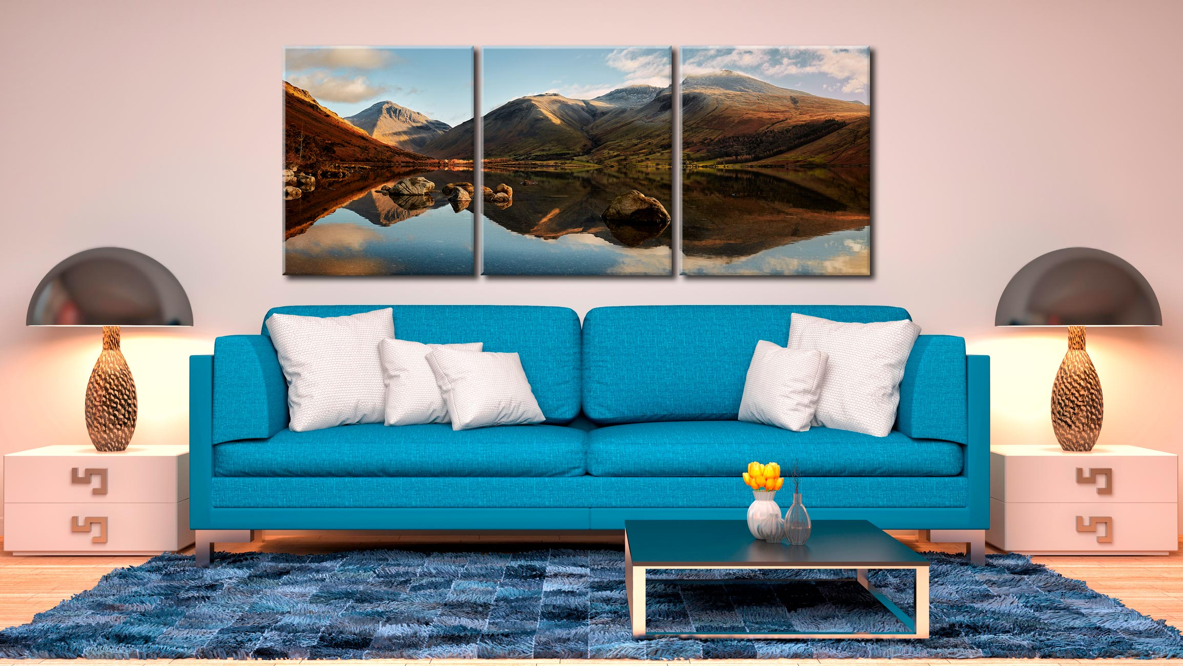 Morning Light on Scafell Pike - 3 Panel Wide Centre Canvas on Wall