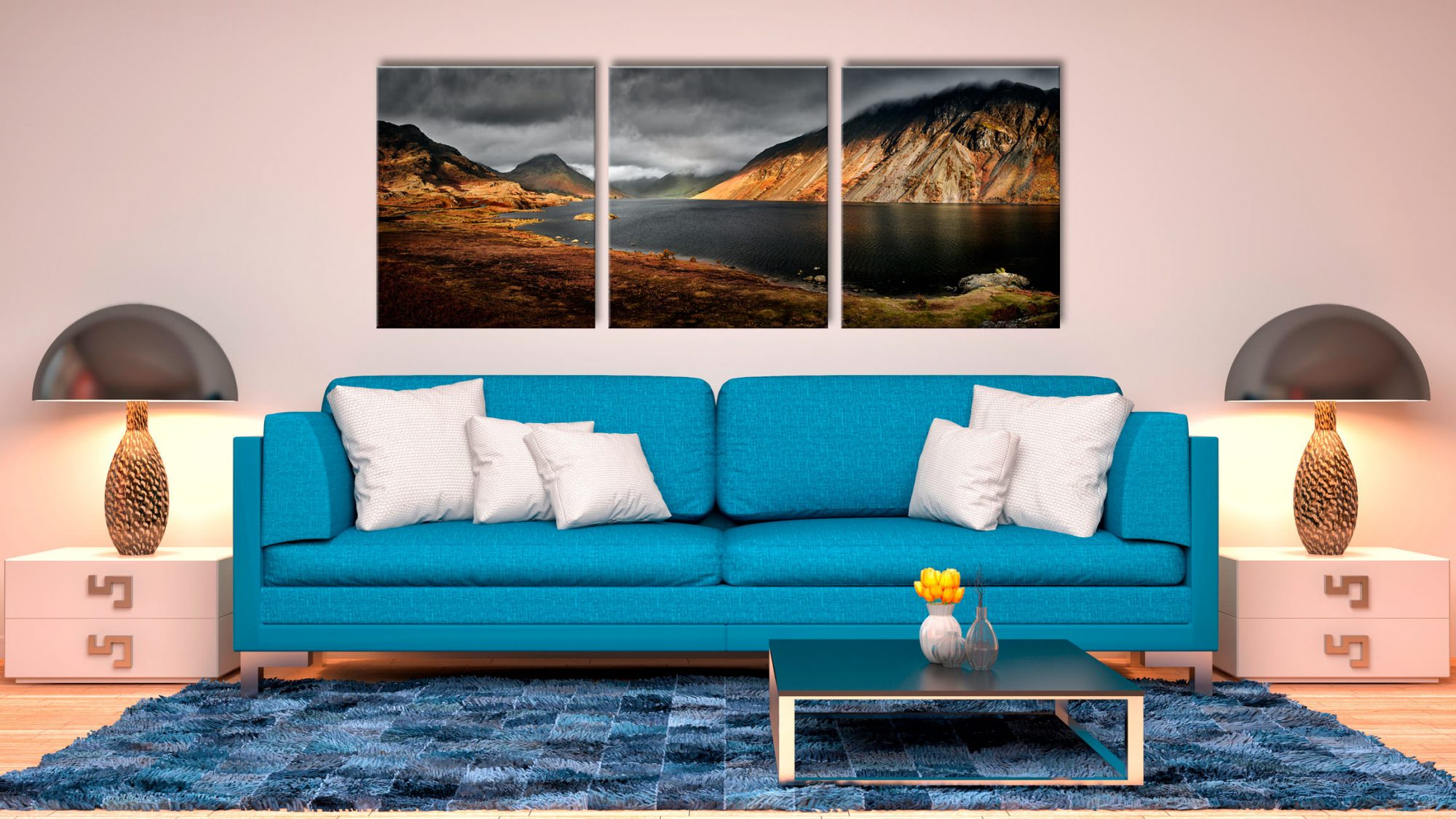 Sunlight on Wast Water - 3 Panel Canvas on Wall