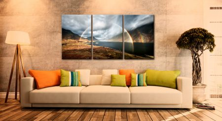 Wast Water Double Rainbow - 3 Panel Canvas on Wall