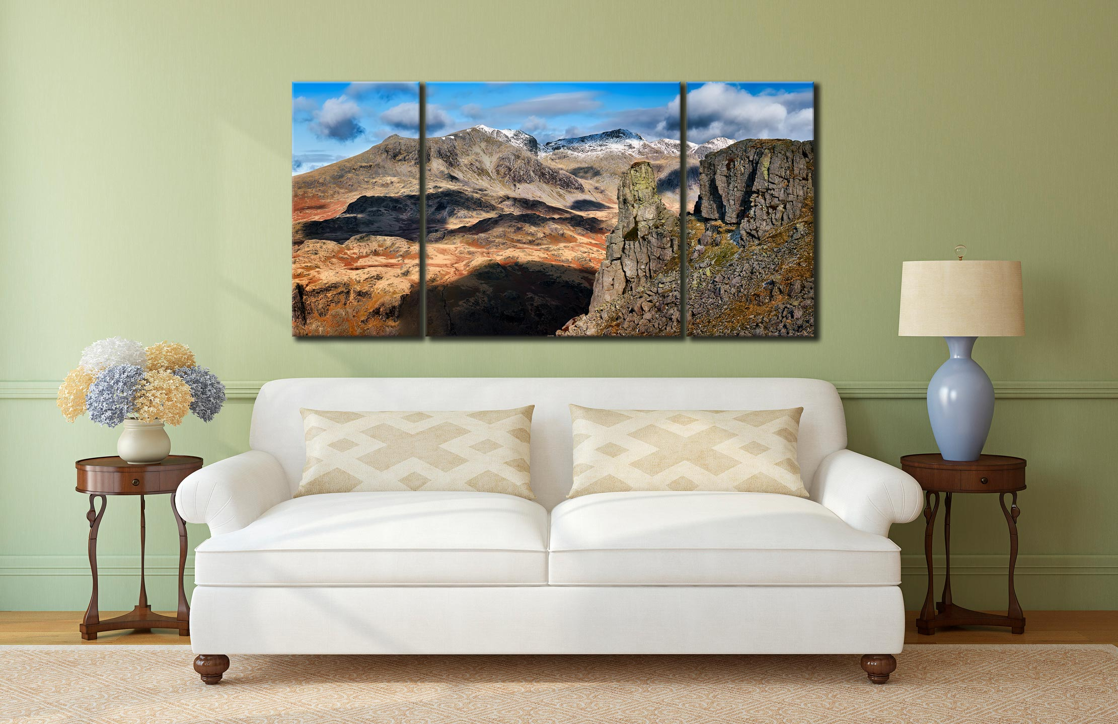 Eskdale Needle and Scafell Mountains - 3 Panel Wide Centre Canvas on Wall