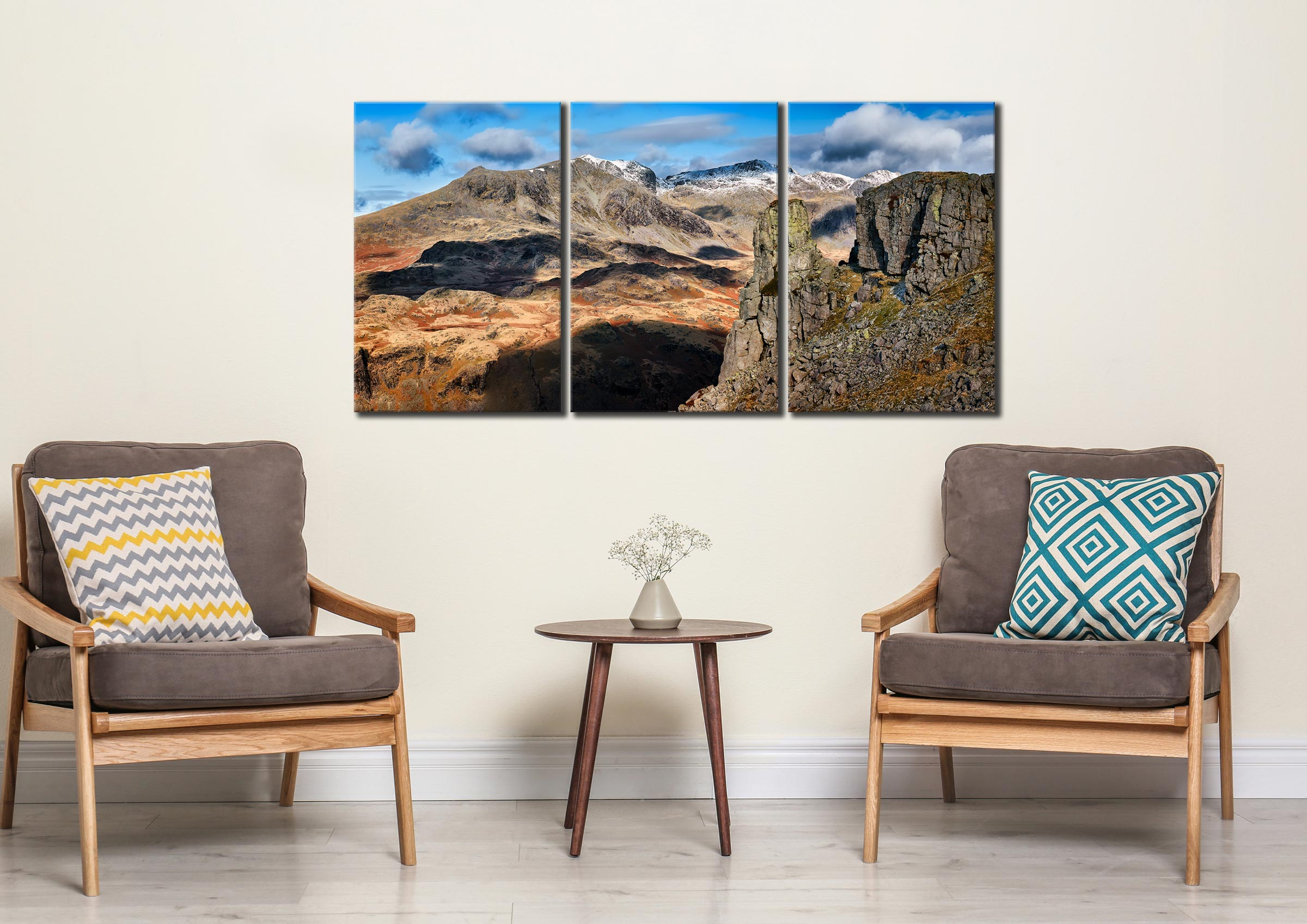 Eskdale Needle and Scafell Mountains - 3 Panel Canvas on Wall