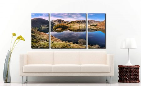 Calmness at Haweswater - 3 Panel Wide Centre Canvas on Wall