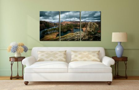 Grey Skies Over Tarn Hows - 3 Panel Canvas on Wall