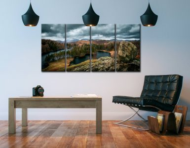 Grey Skies Over Tarn Hows - 4 Panel Canvas on Wall