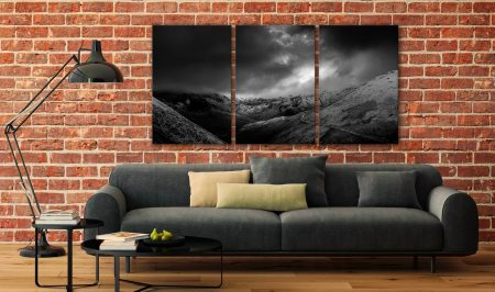 Dark Skies Over the Northern Fells - 3 Panel Canvas on Wall