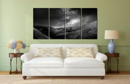 Dark Skies Over the Northern Fells - 4 Panel Canvas on Wall