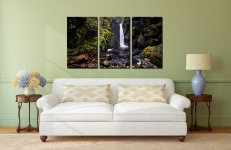 Stanley Ghyll Force - 3 Panel Canvas on Wall