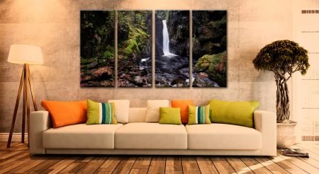 Stanley Ghyll Force - 4 Panel Canvas on Wall
