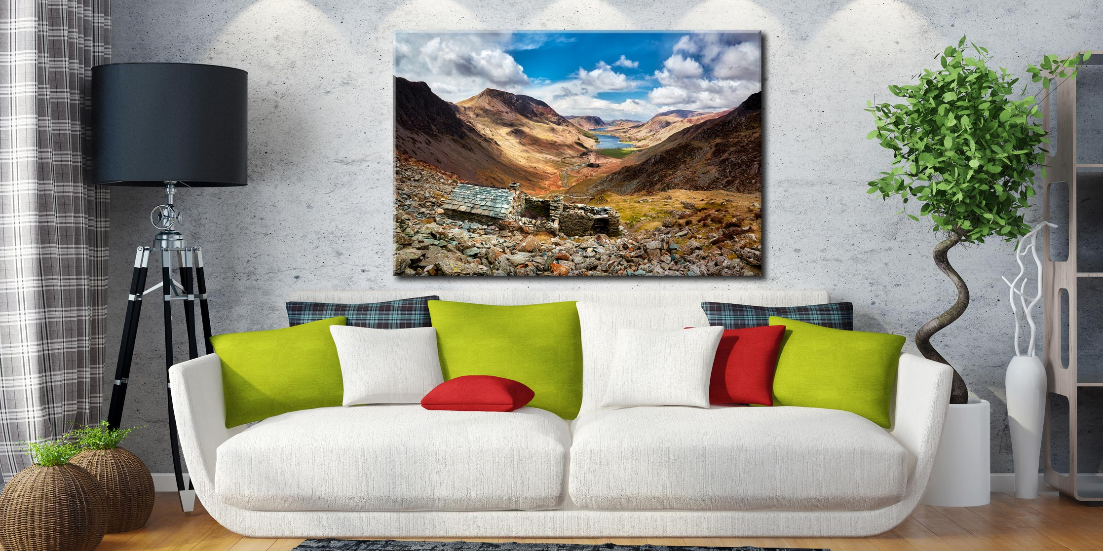 Sunshine and Shadows Over Warnscale Bothy - Canvas Print on Wall