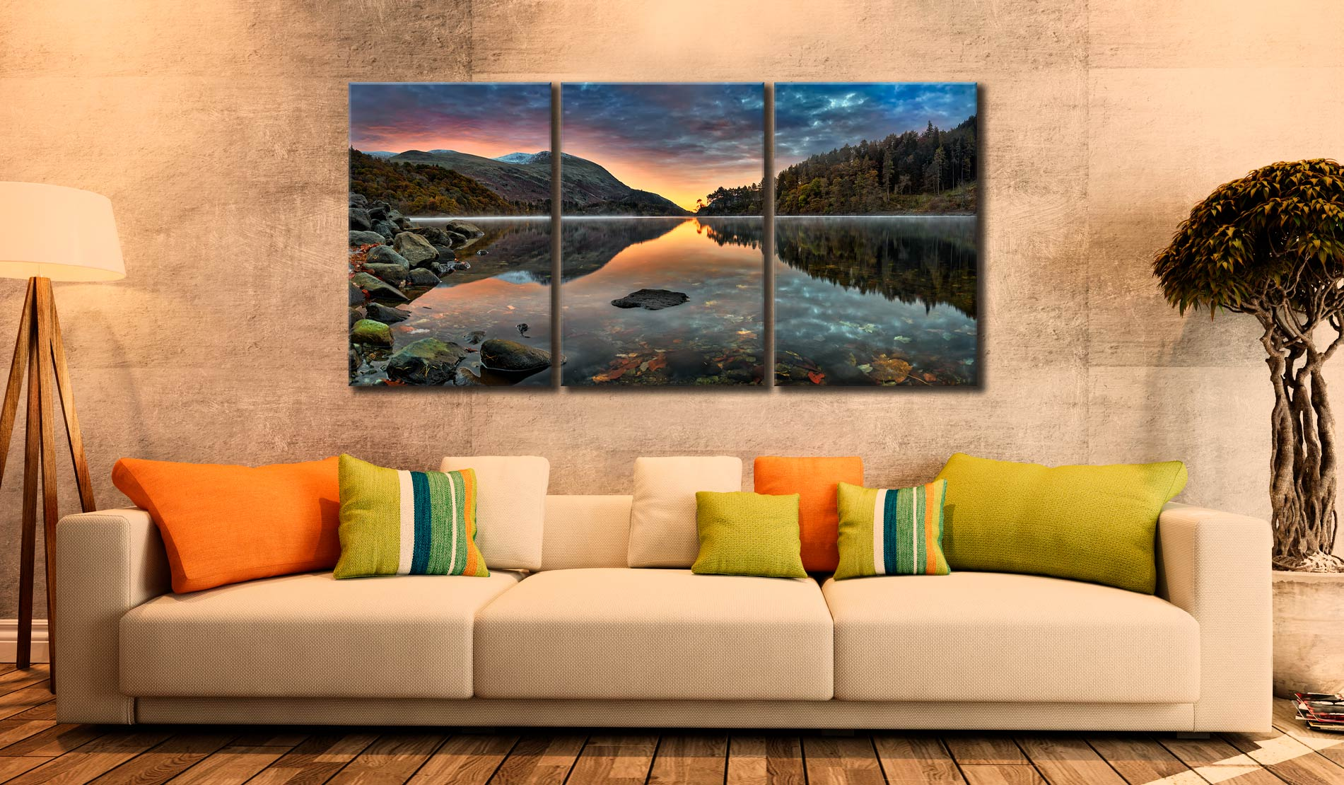 Thirlmere Autumn Dawn - 3 Panel Canvas on Wall