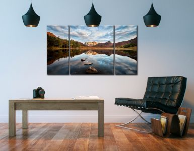 Light on the Langdales - 3 Panel Canvas on Wall