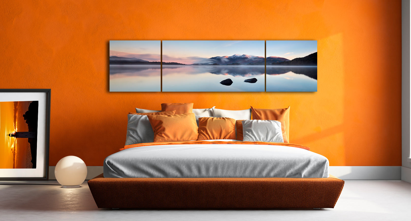 A New Day Dawns at Derwent Water - 3 Panel Canvas on Wall