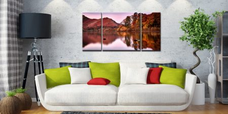 Autumn at Derwent Water - 3 Panel Wide Centre Canvas on Wall