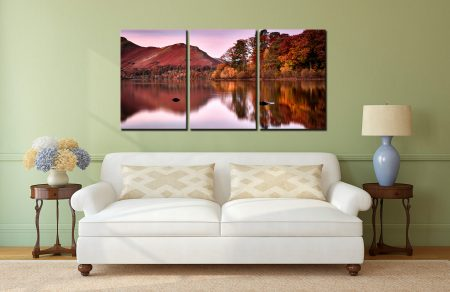 Autumn at Derwent Water - 3 Panel Canvas on Wall